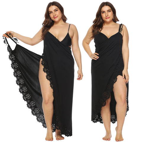 Plus Size Irregular Hollowed-out Beach Dress