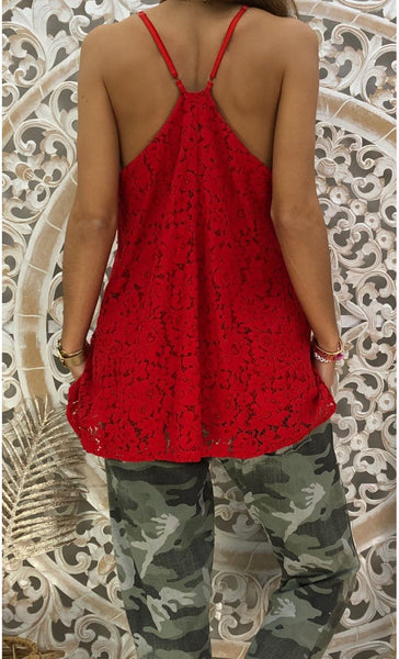 V-neck Lace Sleeveless Camisole T-shirt