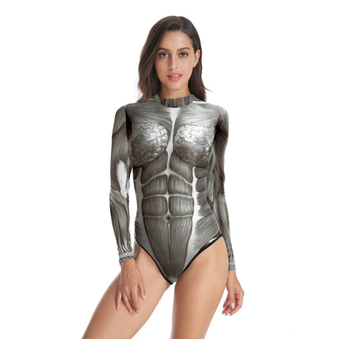 Halloween 3D Human Body Surface Pattern Women's One-piece Swimwear