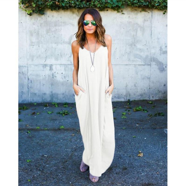Summer Casual Loose Beach Cover Up Long Cami Maxi Dresses with Pocket