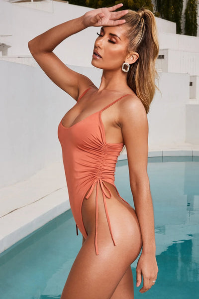 Women's Sexy Pleated One Piece Swimsuit