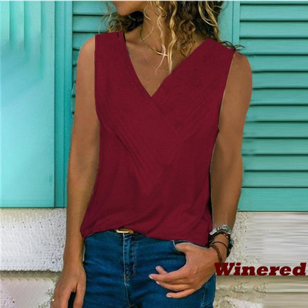 Slim-fit Stitching V-neck Vest Solid Color T-shirt