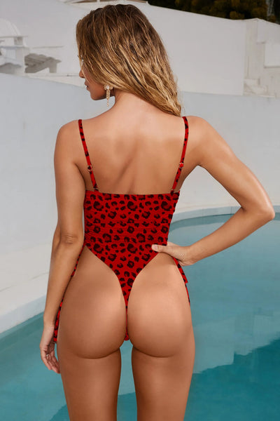 Sexy Spaghetti Strap Leopard Lace Up Cutout High Leg Thong One Piece Bikini Set Monokini Women Swimwear Bathing Suit