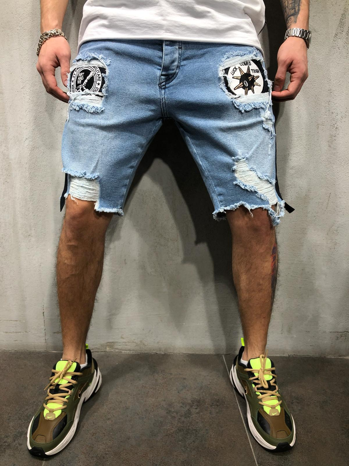 Destroy Wash Casual Jean Shorts