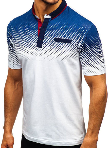 Print Short Sleeve Men's Polo Shirt