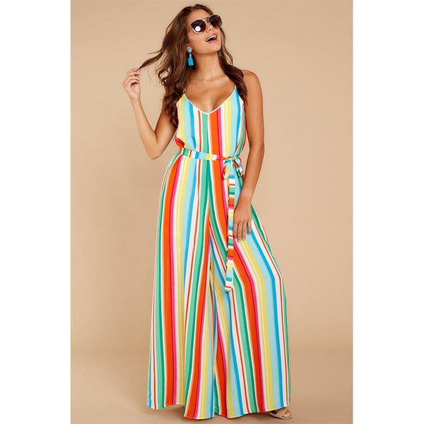 Colorful Striped Hanging Loose Sexy Wide Leg Jumpsuit