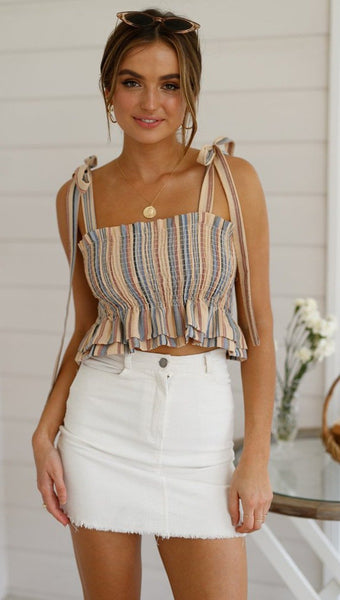 Women's Frill Smocked Crop Tank Top Tie Shoulder Strap Vest