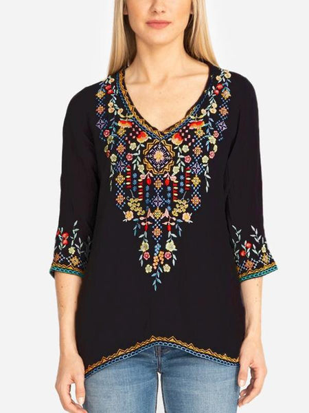 Handmade Embroidered Long 3/4 Sleeve Loose V-Neck Shirt