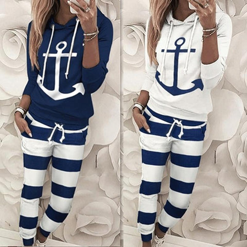 Women's Two Piece Casual Anchor Print Hoodie  + Pants Set