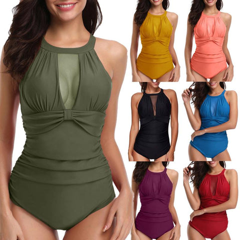 One Piece High Neck V-Neckline Mesh Ruched Monokini Swimsuit