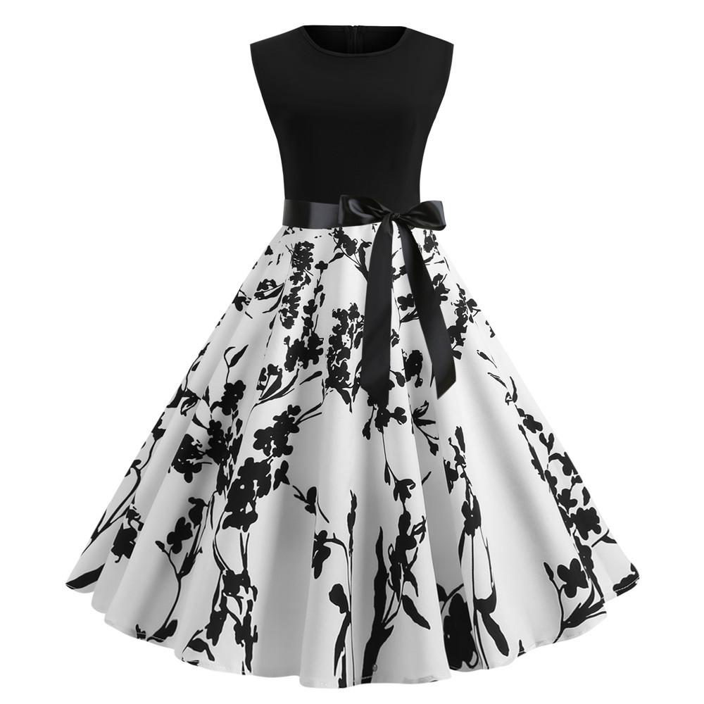 Thin 1950s Retro Vintage Cocktail Party Short Sleeve Print  Dress