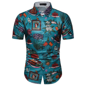 Men's Casual Vintage 3D Print Short Sleeve Shirt