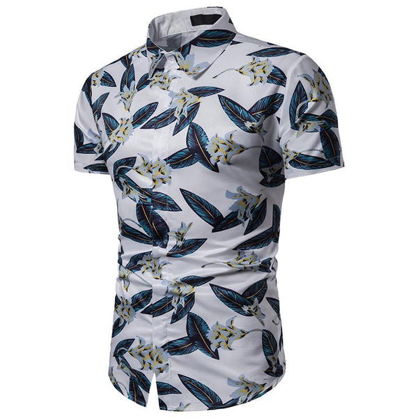 Men's Casual Beach Print Hawaiian Short Sleeve Shirt