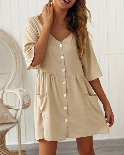 V Neck Pocket Short Dress
