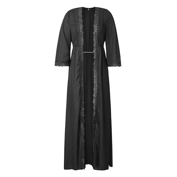 Seven-Minute Sleeve Lace Waist Wrap Long Maxi Dress