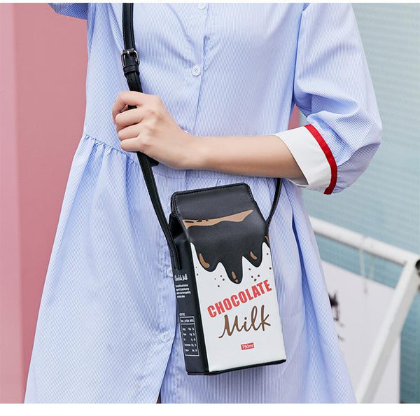 Women PU Shoulder Bag Crossbody Milk Box Bag Mobile Phone Bag Cosmetic Bag Creative Bag