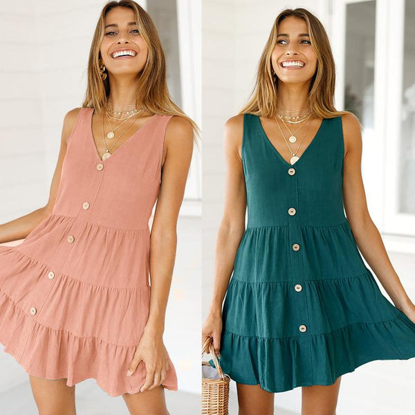 Women V Neck Button Down Ruffles Sleeveless Dress Midi Skater Dress