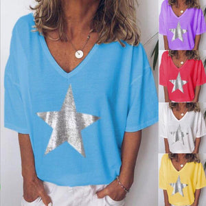 V-Neck Star Printed Short Sleeve T-Shirt