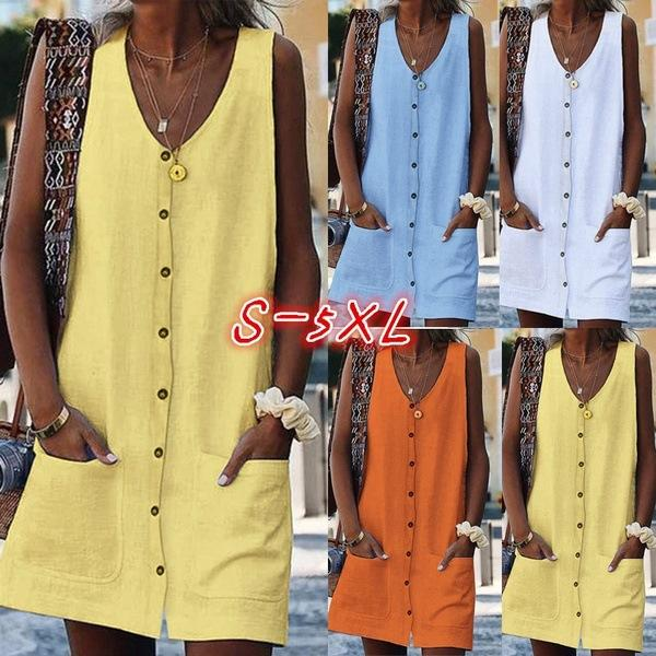 Loose Casual Solid Color Summer Button Tank Dress