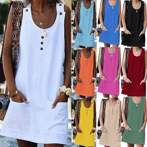 Summer Fashion Pocket Button Design Solid Color Dresses