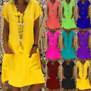 Short Sleeve Summer V-neck Pocket Design Dress