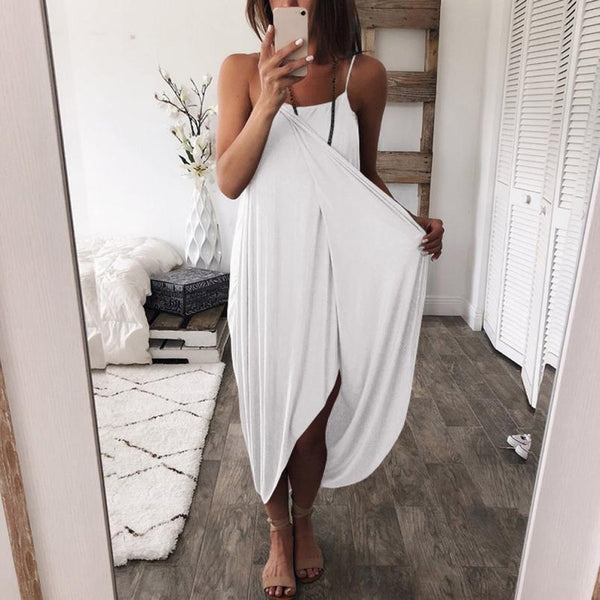 Solid Color Loose Irregular Dress