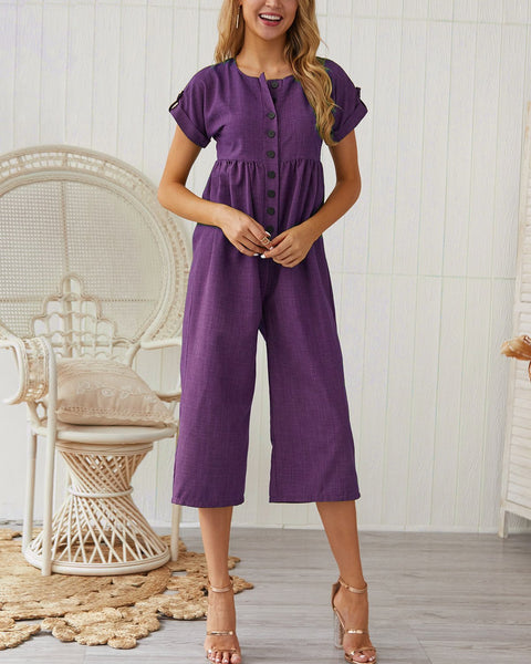 Casual Cotton Solid Color Jumpsuit