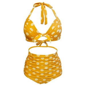 Yellow Vintage Halter High Waist Bikini Set