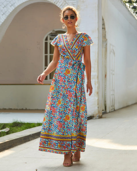 Casual Hot Holiday Print Sexy Jumpsuit Maxi Dress