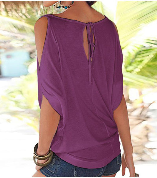 Round Neckline Off-Shoulder Bat Loose T-Shirt Top