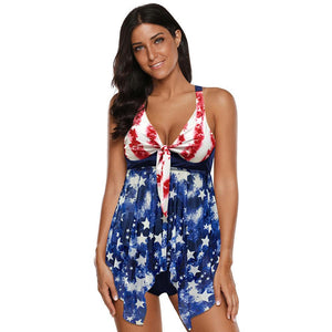 American Flag Printed Women Halter Tie Knot Front Two Piece Swimwear Tankini Set Swimsuit Bathing Suit Swimdress