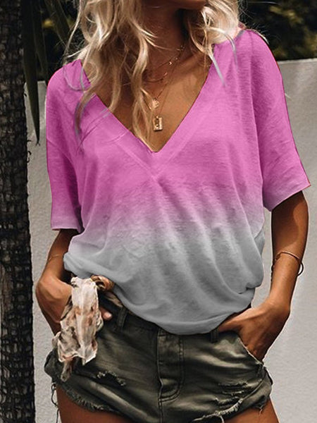 Summer V-neck Solid Casual Gradient Color T-Shirt