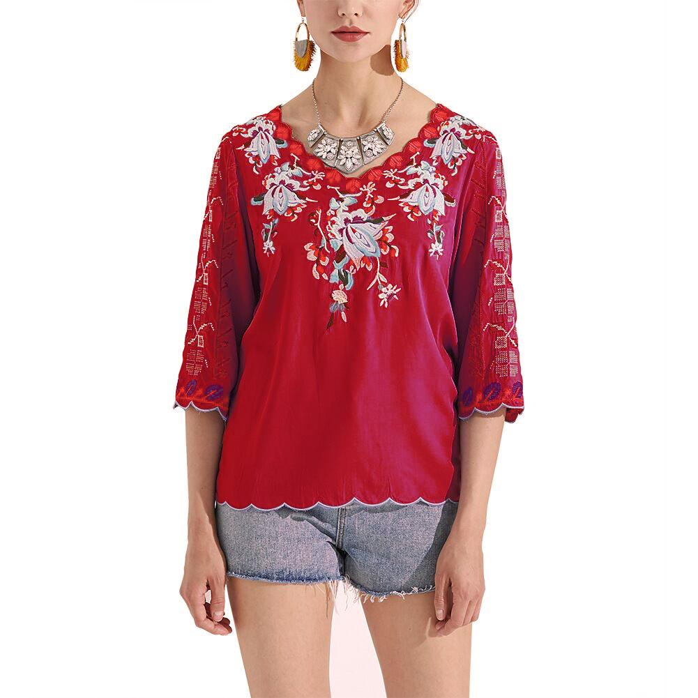 Handmade Embroidery V-neck Floral Casual Short Sleeve T-shirt Top