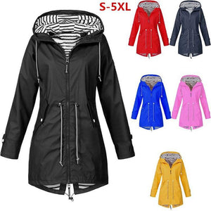 Women Windbreaker Transition Jacket Long Rain Outdoor Jacket with Hood
