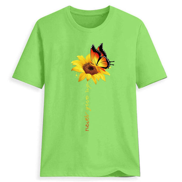 Sunflower Print Print Women's Round Neck Loose T-Shirt
