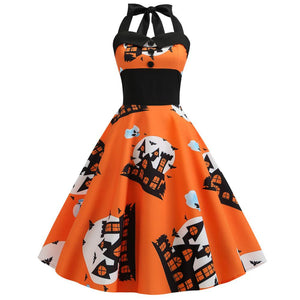 Halloween Pumpkin Ghost Print Buttons Halter Dress