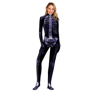 Halloween Skull Digital Print Tight Zipper with Socks Jumpsuit