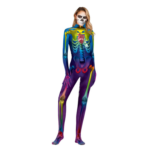 Halloween 3d Skull Digital Print Tight Zipper with Socks Jumpsuit