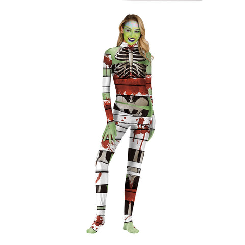 Halloween Horror Skeleton Print Tight Zipper with Socks Jumpsuit