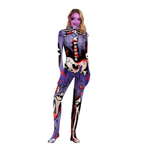 Halloween Color Skull Print Tight Zipper with Socks Jumpsuit