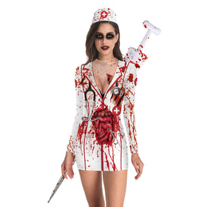 Halloween Nurse Zombie Print Long Sleeve Tight Dress