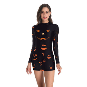 Halloween3D Horror Pumpkin Print Long Sleeve Skinny Dress