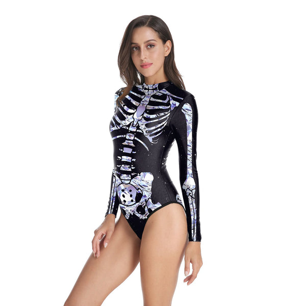 Halloween 3d Human Body Tissue Print Women's One-piece Swimwear
