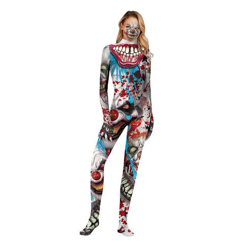 Halloween Clown Returning Soul Print Tight Zipper with Socks Jumpsuit