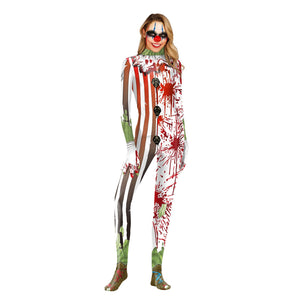 Halloween Blood Clown Digital Print Tight Zipper with Socks Jumpsuit