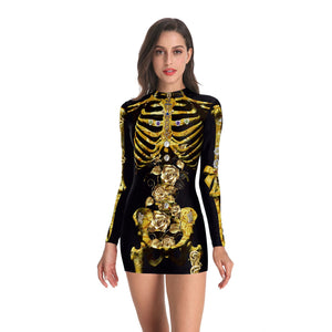 Halloween 3d Truss Printed Long-sleeved Skinny Dress
