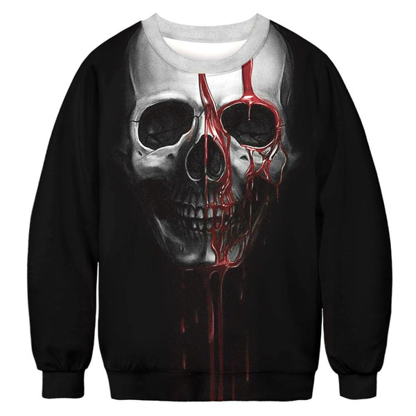 Halloween Skull Digital Print Sweatshirts Plus Size Casual Shirt