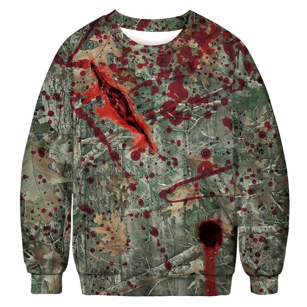 Halloween Digital Print Sweatshirts Plus Size Couple Long Sleeve Shirt