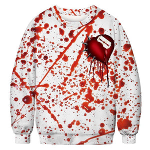 Halloween Blood Splash Digital Print Sweatshirts Plus Size Shirt