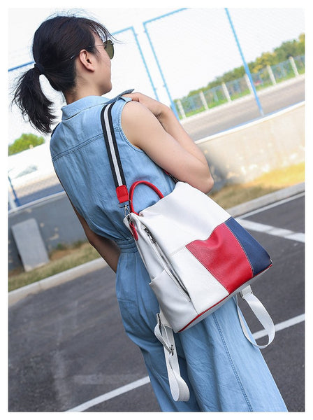 Waterproof Color BlockTravel Backpack Shoulder Bag For Women Girl